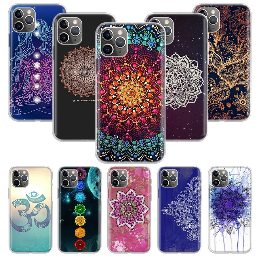 mandala chakra yoga Case for Apple iphone 11 Pro XS Max XR X 7 8 6 6S Plus 5 5S SE 10 Ten Gift Silicone Phone Cover Coque
