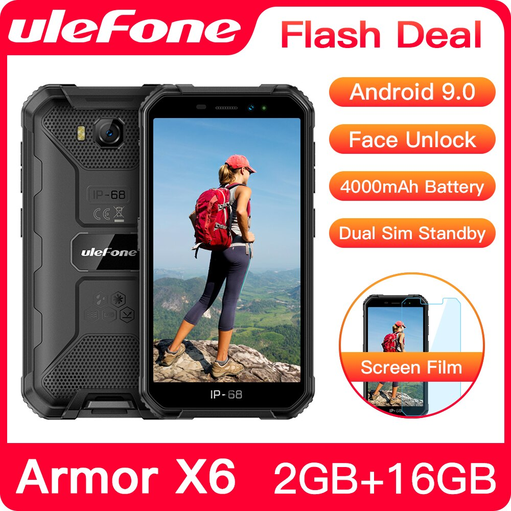 Ulefone Armor X6 IP68 Waterproof Rugged Smartphone 2GB +16GB Android 9.0 4000mAh Face ID 8MP Cellphone Outdoor 3G Mobile Phone
