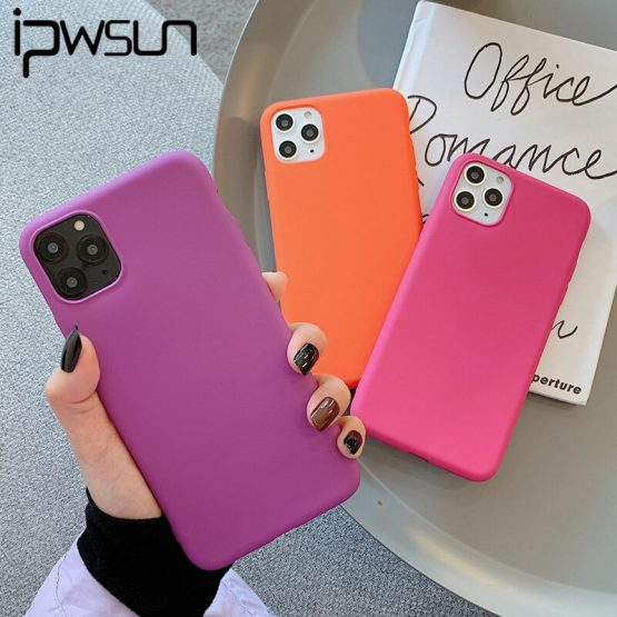 iPWSOO Matte Silicone Phone Case For iPhone 11 7 8 Pro Max XR XS X Pure Color Knockproof For iPhone 7 8 6 6s Plus Soft TPU Cover