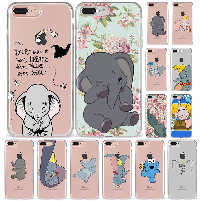 Cute Animal Dumbo Silicone Back Cover Case For iPhone X XS XS 11 pro MAX XR 8 7 6 6S Plus 5 5s SE XS MAX Phone Coque Capa Funda