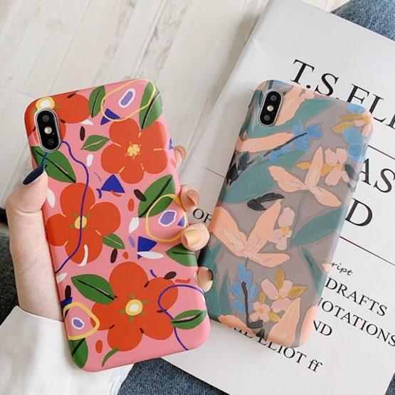 LACK Colorful Flower floral Leaf Phone Case For iphone 8 Plus 6 6S 7 X XS Max LACK Colorful Flower floral Leaf Phone Case For iphone 8 Plus 6 6S 7 X XS Max XR Case For iphone 11 11Pro Max soft Back Cover.