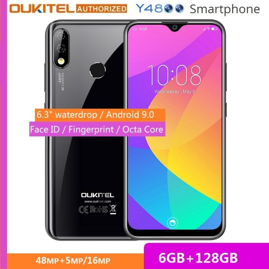"OUKITEL Y4800 6.3"" FHD+ Big Screen Smartphone Android 9.0 Octa Core 6G 128G Fingerprint 4000mAh 9V/2A Face ID Mobile Phone"
