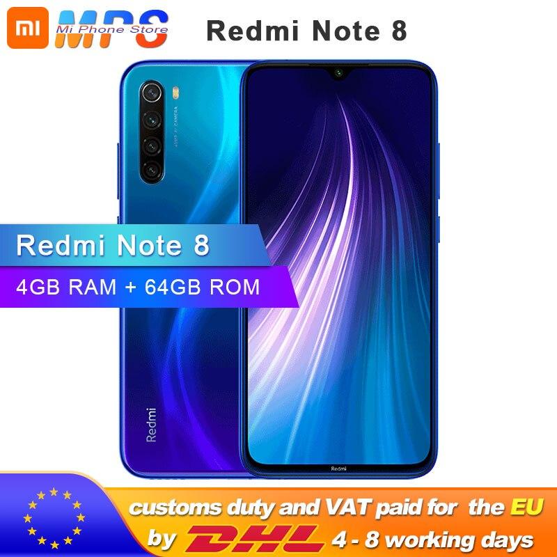 "Global ROM Xiaomi Redmi Note 8 4GB 64GB Smartphone Snapdragon 665 Octa Core 6.3"" 48MP Rear Camera 4000mAh Support Phone"