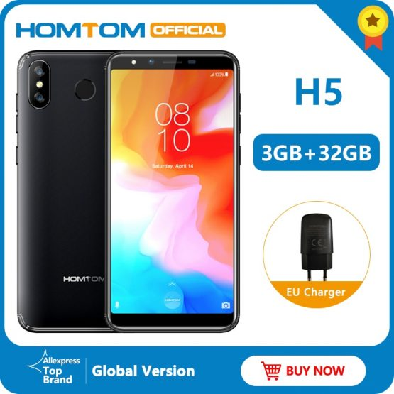 """Global version HOMTOM H5 360 OS Android8.1Mobile Phone 3GB+32GB 3300mAh 5.7"""" Face ID 13MP MT6739 Quad Core 4G FDD-LTE Smartphone"""
