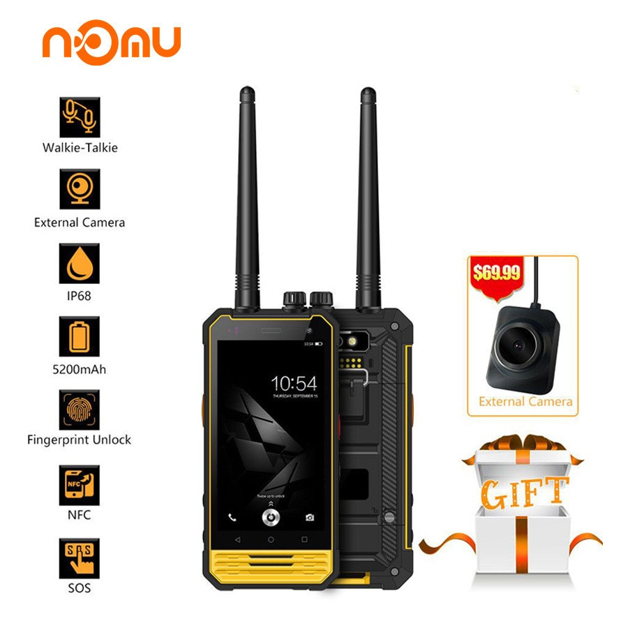 "Nomu T18 IP68 Walkie Talkie Waterproof 4G LTE Mobile Phone 4.7"" MTK6737T quad core Android 7.0 3GB+32GB 5200mAh NFC Smartphone"