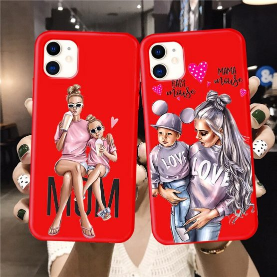 Baby Mouse Mama Mouse Super Mom Girl Phone Case For iphone 11 Pro Max X XS Max XR Red Super mother family for iphone 7 6s 8 Plus