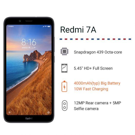"Xiaomi Redmi 7A 3GB 32GB Smartphone 5.45"" Snapdragon 439 Octa Core 4000mAh Xiaomi Redmi 7A 3GB 32GB Smartphone 5.45"" Snapdragon 439 Octa Core 4000mAh Battery 12MP Camera Global Rom 4G Cellphone."