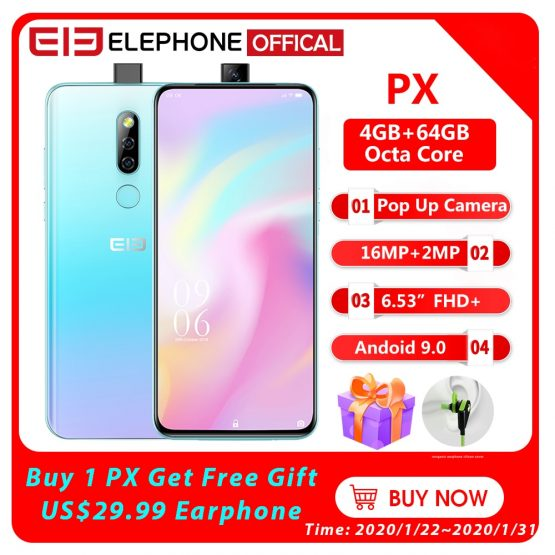 "Elephone PX 6.53"" FHD+Full Screen Pop-Up 16MP+2MP Camera 3300mAh Mobile Phone Android 9.0 MT6763 Octa Core 4GB+64GB Smartphone"