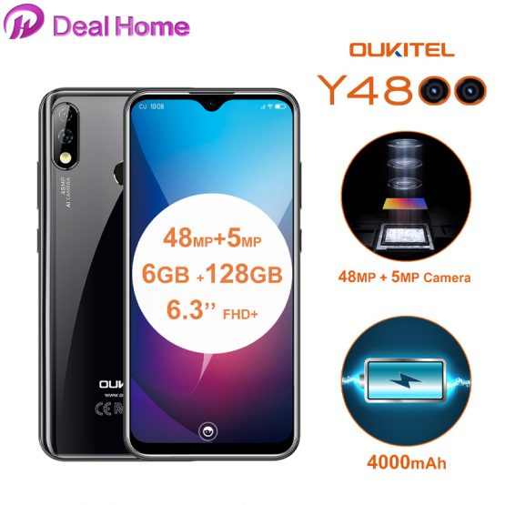 """Oukitel Y4800 6.3""""19.5:9 Screen Android 9.0 6G RAM 128G ROM Smartphone 4000mAh Battery 48MP+5MP Fingerprint Face ID Mobile Phone"""