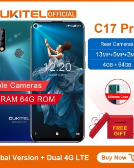 "OUKITEL C17 Pro 6.35""19.5:9 Android 9.0 Mobile Phone MTK6763 Octa Core 4G RAM 64G ROM Dual 4G LTE Rear Triple Cameras Smartphone"