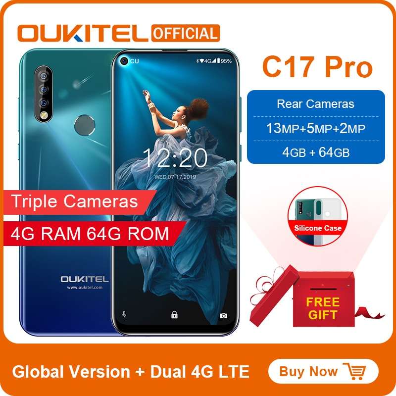 """OUKITEL C17 Pro 6.35""""19.5:9 Android 9.0 Mobile Phone MTK6763 Octa Core 4G RAM 64G ROM Dual 4G LTE Rear Triple Cameras Smartphone"""
