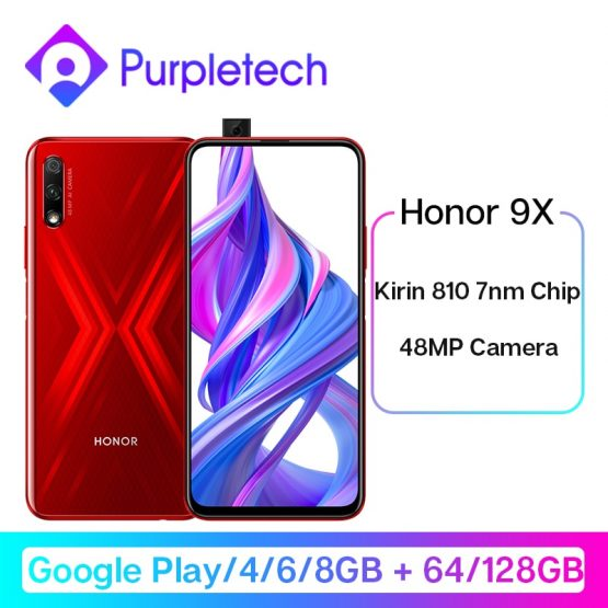 "Google Play Honor 9X Kirin 810 7nm Octa core Smartphone 48MP Dual Camera 6.59"" Full Screen Pop-Up Front Camera Mobile Phone"