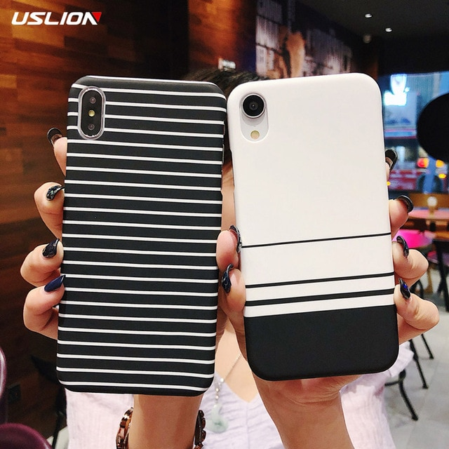 USLION Simple Stripe Grid Phone Case For iPhone 11 X 8 7 Plus XR XS Max Slim Back Cover For iPhone 11 Pro Max Hard Plastic Cover