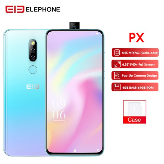 "Elephone PX 6.53"" FHD+ Full Screen 16MP Pop-Up Camera Mobile phone Android 9.0 Fingerprint Quad Core MT6763 Smartphone 2019"