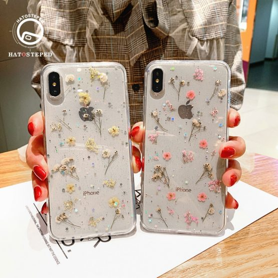 For Iphone 11 Pro X 7 Real Flower Transparent Floral Phone Case For Iphone 11 Pro X Max XR XS 6 6s 7 8 Plus soft Silicone Cover