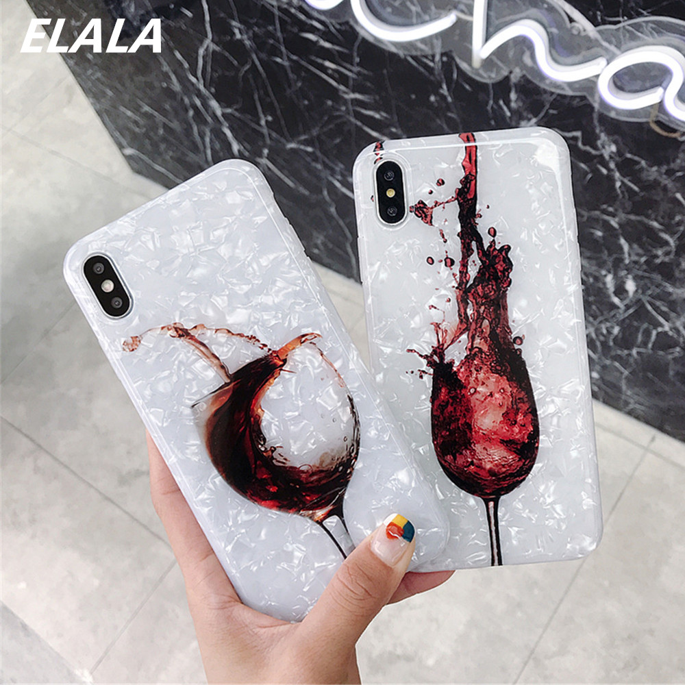 Red Wine Case For iphone 11 6 7 X XS Max Back Cover Soft Silicone Conch Shell Phone For iPhone 7 8 6 6s Plus XR X 11 Pro Case 11