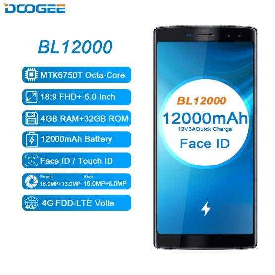12000mAh Fast Charge 6.0'' Android Smartphone 18:9 FHD 4GB RAM 32GB ROM Quad Camera 16.0MP MTK6750T Octa Core DOOGEE BL12000