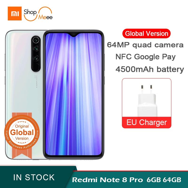Global Version Xiaomi Redmi Note 8 Pro 6GB RAM 64GB ROM 64MP Quad Rear Camera Smartphone MTK Helio G90T Octa Core 4500mAh