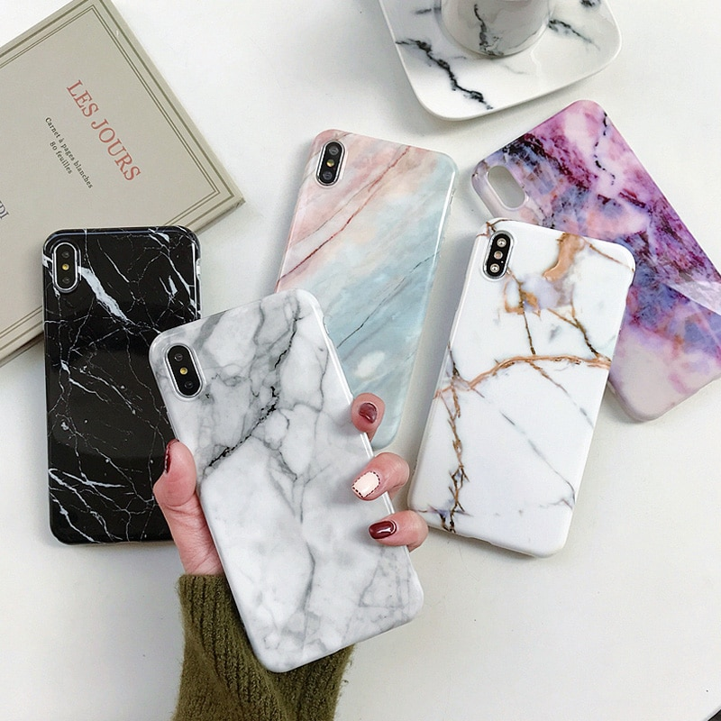 Ottwn Marble Stone Case For iPhone 7 11 Pro XS Max Case Soft IMD Back Cover For iPhone 6 6s 7 8 Plus For iPhone X XR Phone Case
