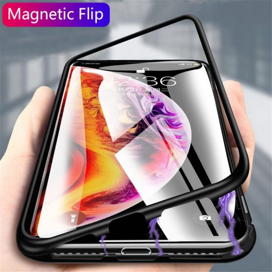 Metal Magnetic Adsorption Glass Case For iphone XR X XS 8 7 Plus 6 6S 11 Pro Max Phone Case For iphone 11 Case Cover Capa Coque