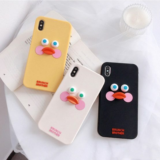 Cute Cartoon Duck Phone Case For iphone 11 Pro Max XS Max X XR 6 6s 7 8 plus Back Cases Fashion Funny 3D Touch Silcone Soft Capa