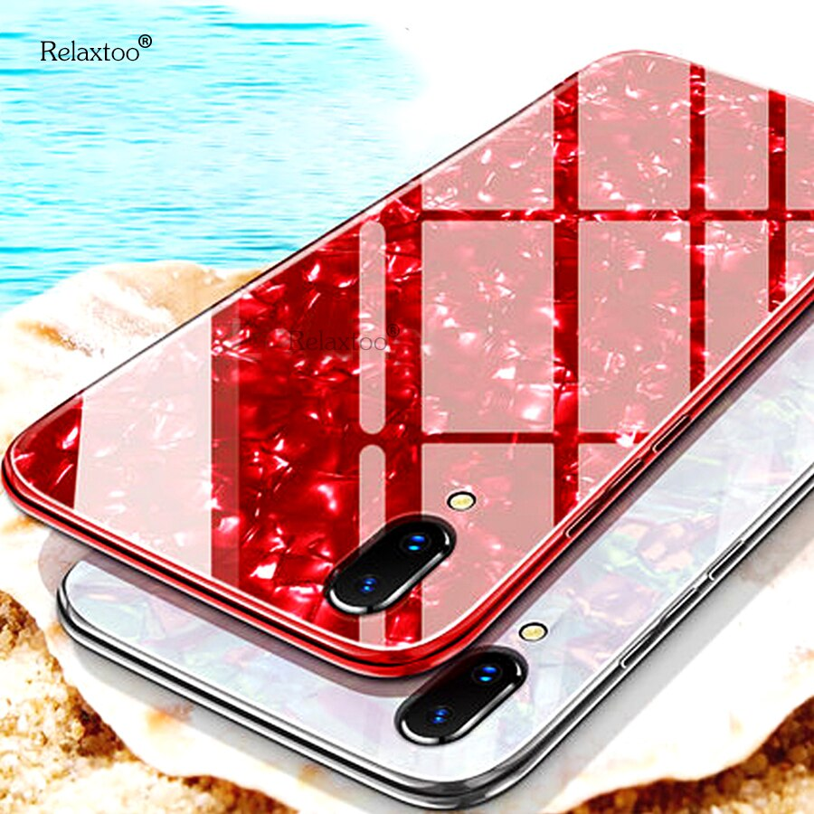luxury bling tempered glass shell cover for iphone 11 pro max silicone edge case on the for iphone 7 8 6 6s plus 10 coque fundas