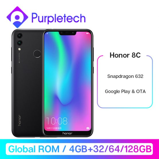 Honor 8C 8 C Smartphone Google Play Snapdragon 632 Octa Core 3 slot Face ID 6.26 inch Front 8.0MP Dual Rear Camera 4000mAh