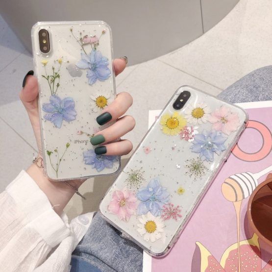 Fashion Glitter real Dry pressed Flower phone case For iphone 11 pro XS MAX Fashion Glitter real Dry pressed Flower phone case For iphone 11 pro XS MAX x XR 6 7 8 plus transparent silicone back cover girl.