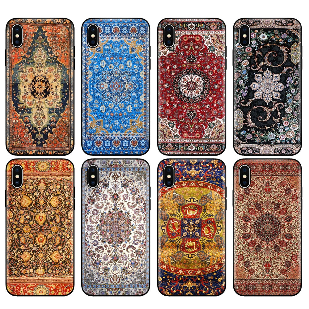 Black tpu case for iphone 5 5s se 6 6s 7 8 plus x 10 case cover for iphone XR XS 11 pro MAX case Persian carpet Floral pattern