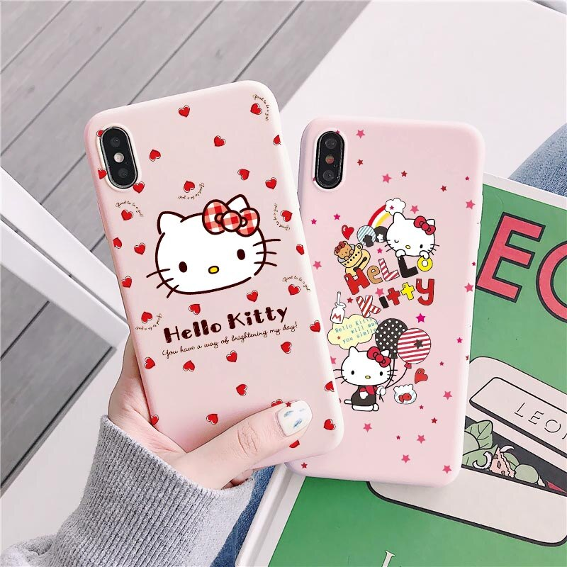 Cute cat Hello kitty Custom Phone Case for Apple iphone 11 pro Max 8 7 6S Plus Mobile cover Cartoon pink for iphone X XS MAX XR