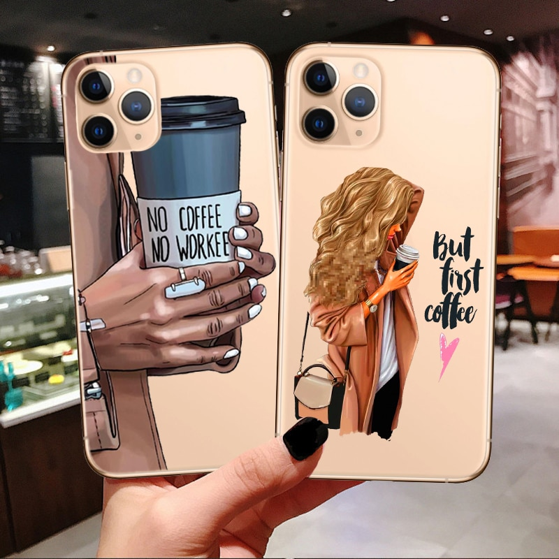 Princess Female boss coffee Phone Case For iPhone 11 Pro Max 2019 Vogue girl Mom Baby Soft Cover For iPhone X 7 8 Plus XR XS Max