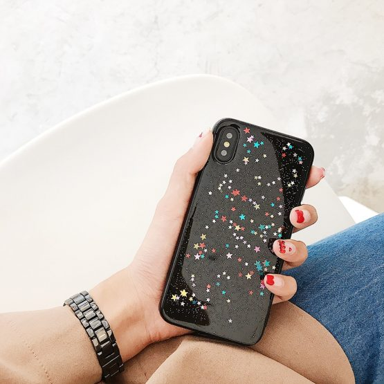 Qianliyao For iphone 11 Pro Max XS Max XR Case Bling Colorful Star Silicon Qianliyao For iphone 11 Pro Max XS Max XR Case Bling Colorful Star Silicon Clear Cover Glitter Case for iphone 6 6s 7 8 plus X cases.