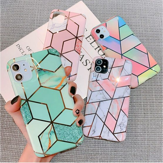 Luxury Marble Plating Case For iPhone 11 Pro Max X XR Xs Max Soft TPU Phone Case For iPhone 6 6s Plus 7 8 Plus IMD Back Cover