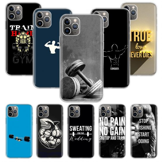 Bodybuilding Gym Fitness Case for Apple iphone 11 Pro XS Max Bodybuilding Gym Fitness Case for Apple iphone 11 Pro XS Max XR X 7 8 6 6S Plus 5 5S SE 10 Ten Gift Silicone Phone Cover Coque.