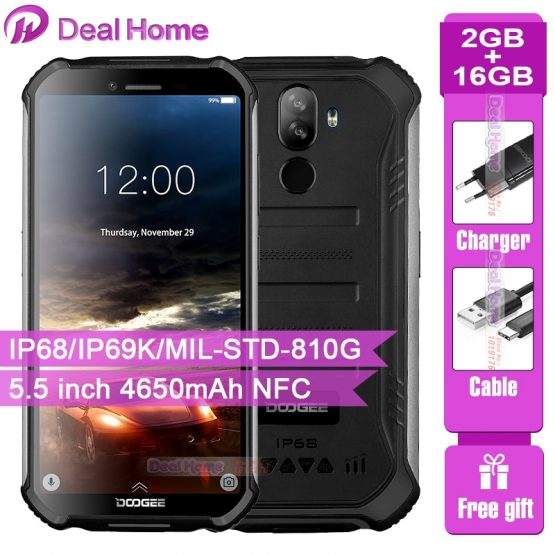IP68 DOOGEE S40 Lite Quad Core 2GB 16GB Android 9.0 Rugged Mobile Phone 5.5 Inch 4650mAh 8.0MP Fingerprint Face ID Smartphone