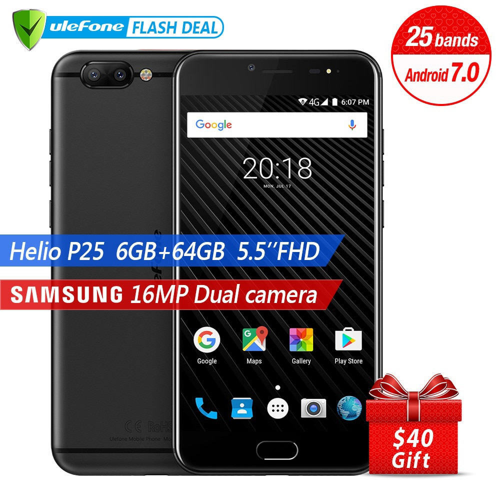 Ulefone T1 Dual Rear Camera 16MP Mobile Phone 5.5 inch FHD Helio P25 Octa Core Android 7.0 6GB 64GB Fingerprint 4G smartphone