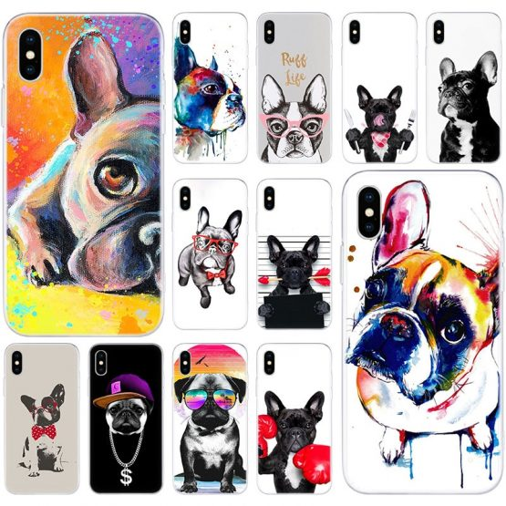 Hot French Bulldog Dog Pug Soft Silicone Case for Apple iPhone 11 Pro XS MAX X XR 7 8 Plus 6 6s Plus 5 5S SE Fashion Cover