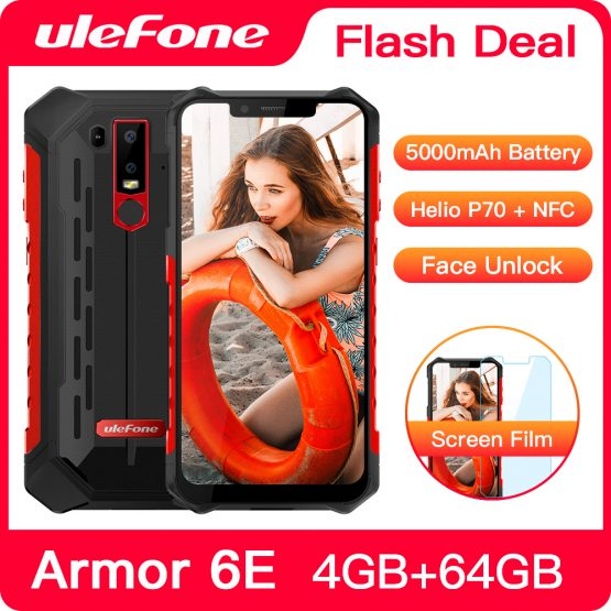 Ulefone Armor 6E IP68 Waterproof NFC Rugged Mobile Phone Helio P70 Otca-core Android 9.0 4GB+64GB Wireless Charge Smartphone