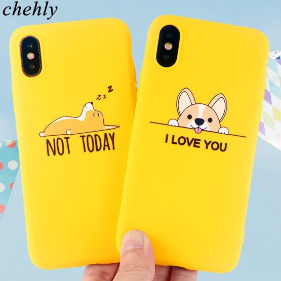 Cute corgi Phone Case for iPhone 6s 7 8 11 Plus Pro X XS MAX XR Cases Soft Silicone Protection Cell Phone TPU Accessories Cover