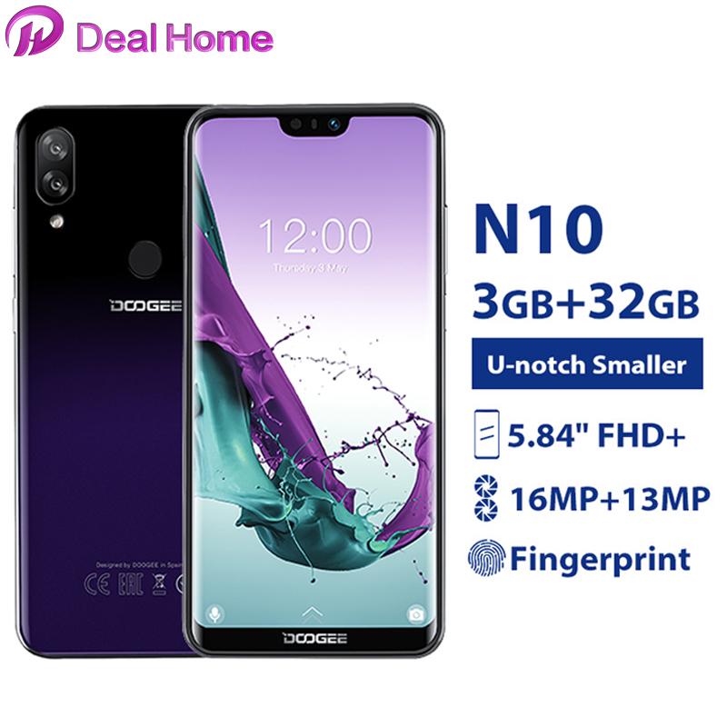 "Doogee N10 5.84"" FHD+ Screen Mobile Phone 3GB 32GB Android 8.1 Octa Core 16.0MP Camera 3360mAh Fingerprint 4G LTE Smartphone"