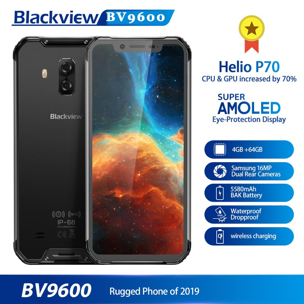 """2019 New Blackview BV9600 Rugged Smartphone Android 9.0 4GB+64GB Waterproof Mobile Phone Helio P70 6.21"""" 19:9 AMOLED 5580mAh"""