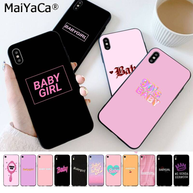 MaiYaCa BABY Babe babygirl honey line Text art DIY Painted Phone Case for iPhone 11 pro XS MAX 8 7 6 6S Plus X 5 5S SE XR