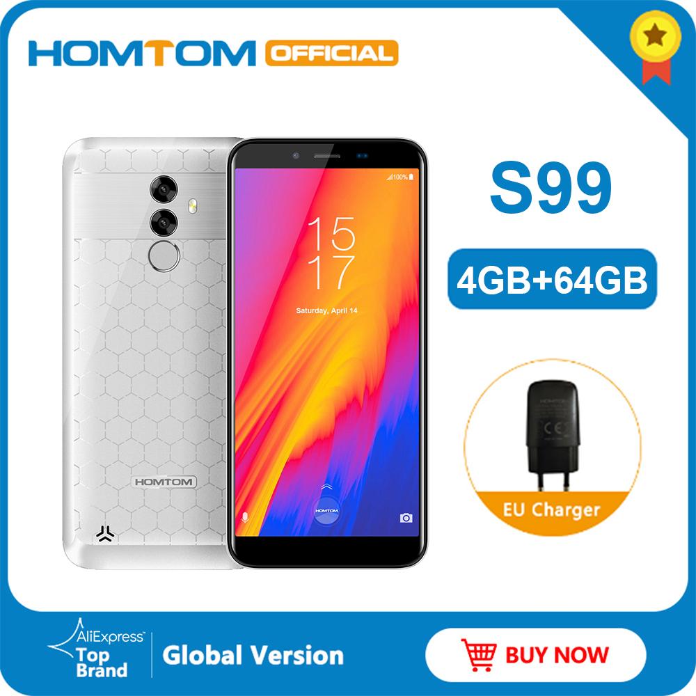 Original HOMTOM S99 5.5 Inch Android 8.0 4GB 64GB Smartphone 6200mAh 21+2MP Dual Rear Cameras Fingerprint FDD-4G Mobile Phone