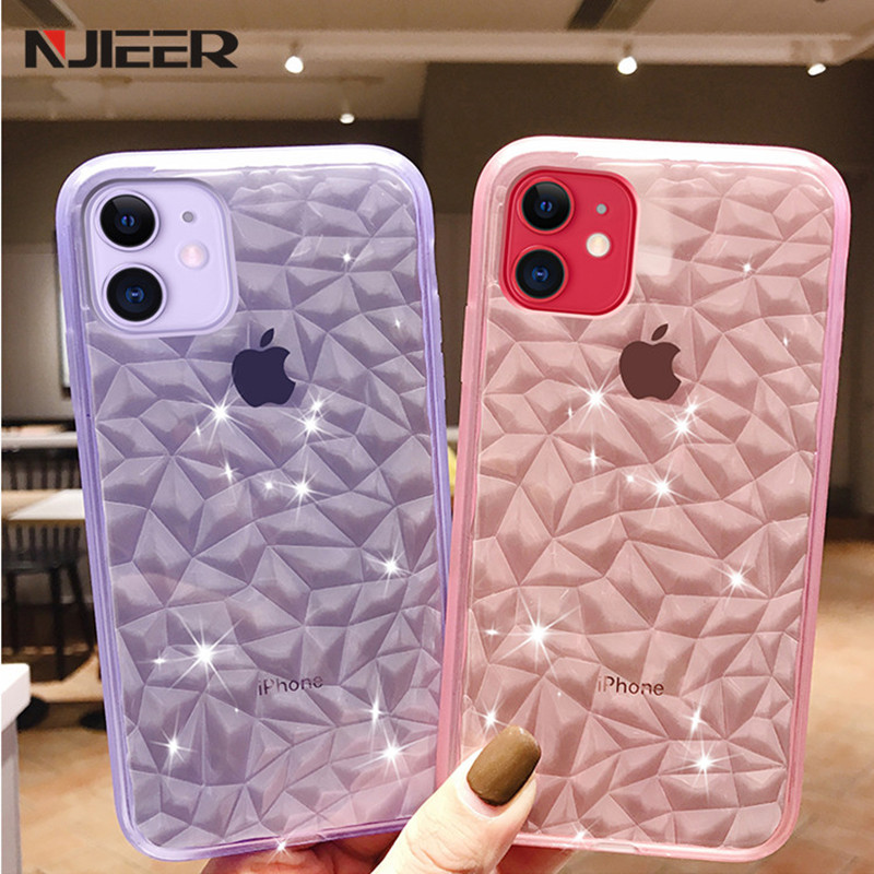 Luxury Crystal Transparent Soft Silicone Phone Case For iPhone 11 Pro XS MAX X XR 8 7 6 S 6S Plus Glitter Diamond Texture Covers