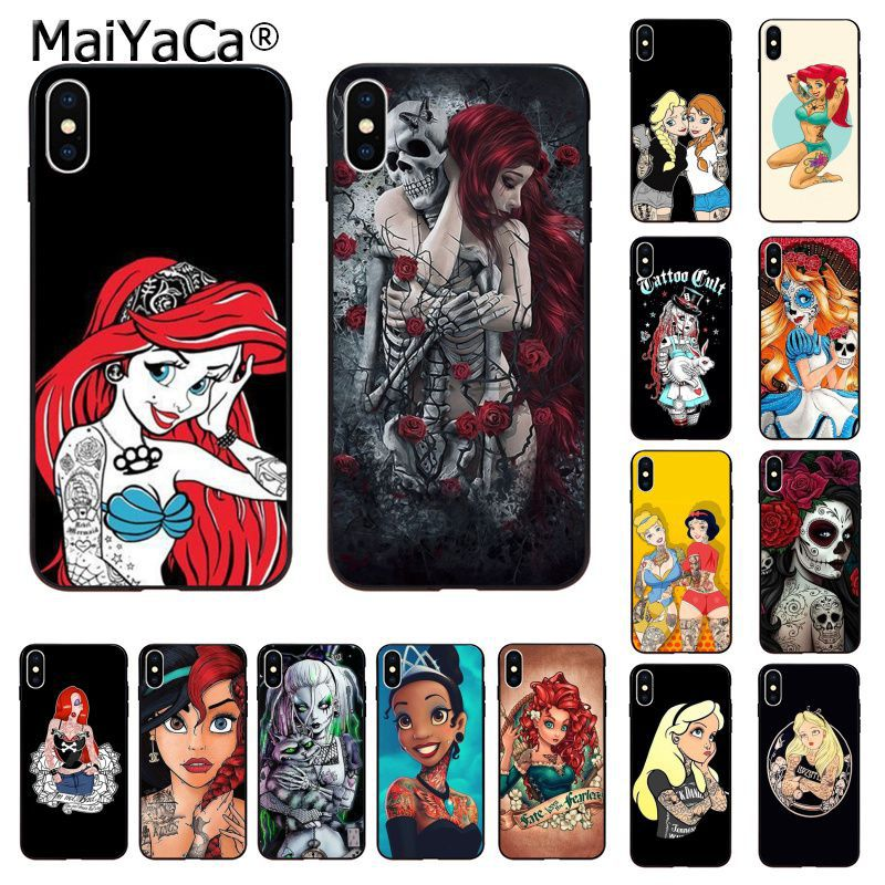 MaiYaCa Bad princess black tattoo Black Shell Phone Cover for Apple iphone 11 pro 8 7 66S Plus X XS MAX 5S SE XR Cases