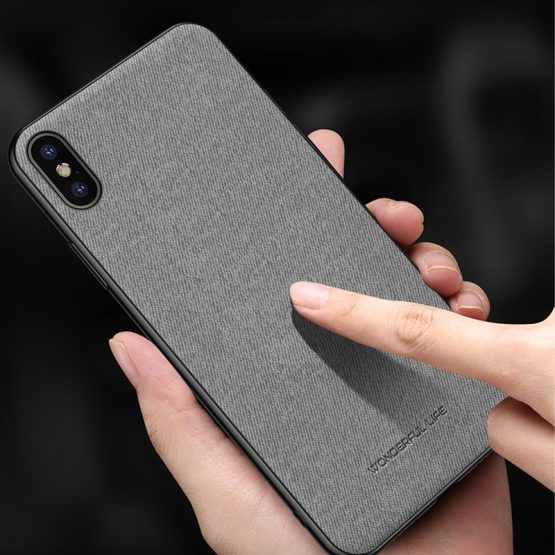 Ultra-thin Soft TPU Silicone Cloth Texture Case Cover For iPhone 11 XS Max x 6s 7 8 Plus Phone Case Vintage Business Back Cover