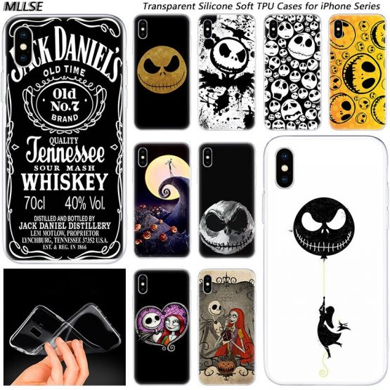 Hot Jack skellington Fashion Silicone Case Cover for Apple iPhones 11 Pro XS Max X XR 7 8 6 6s Plus 5S SE TPU Soft Phone Cases