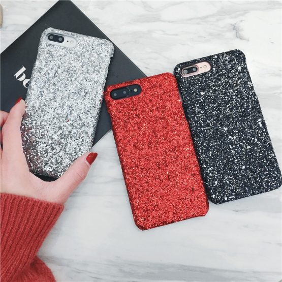 Matcheasy Hard PC Phone Cases for Iphone 7 8 6 6S Plus Back Cover Glitter Bling Shiny Powder Coque for Iphone X Cases Fundas