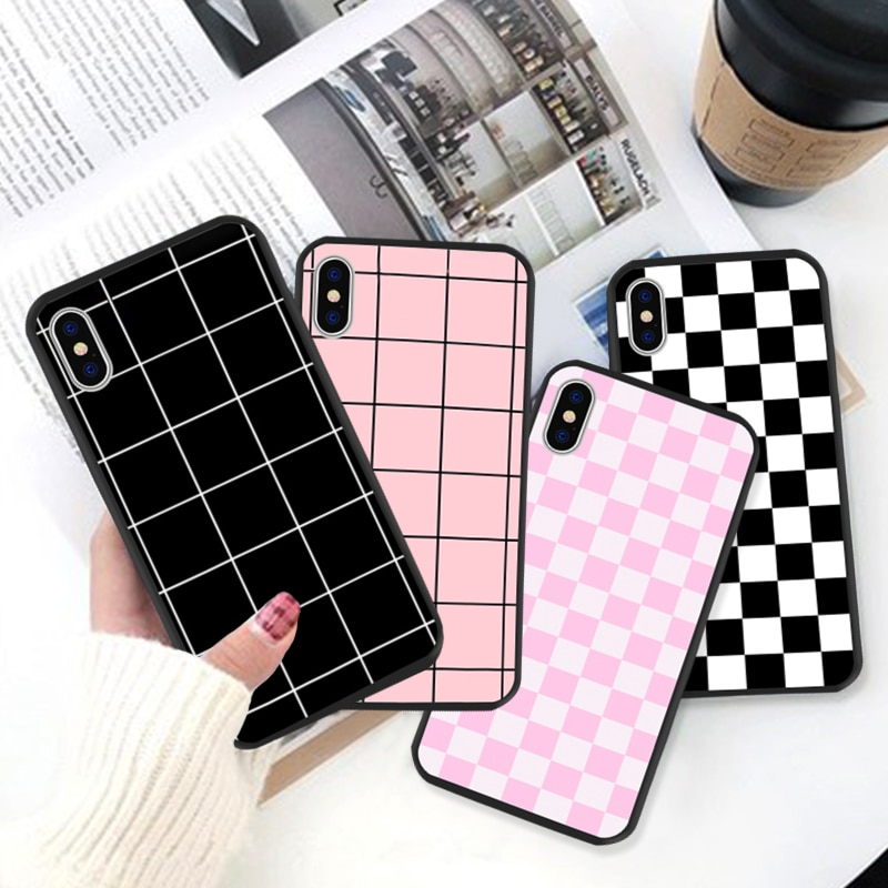 GYKZ Checkerboard Plaid Checked Checkered Phone Case For iPhone 11 Pro XS MAX XR X 7 8 6 6s Plus Grid Hard Back Cover Slim Coque