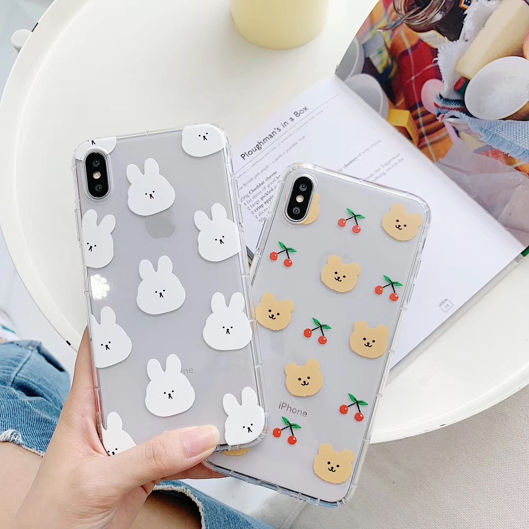 INS Korea cute cartoon animal funny rabbit bear phone case For iphone Xs MAX XR X 6 6s 7 8 plus couple clear soft TPU back Cover
